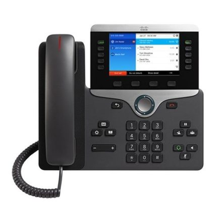 Cisco CP-8851-K9 IP Phone PoE (CP-8851-K9) Overview The Cisco IP Phone 8851 is a business-class collaboration endpoint that combines high-fidelity, reliable, secure, and scalable voice over IP communications with Cisco Intelligent Proximity for telephony integration for personal mobile devices to support small to large enterprise businesses. Features 5 programmable line and feature keys 5-inch widescreen VGA (800x480 pixel), 24-bit color Screen Integrated 10/100/1000 switch G.722 on handset, speakerphone, and headset RJ-9, auxiliary, USB, and Bluetooth Headset ports Wall-mount option Compatible with Optional IP Phone 8800 Key Expansion Module